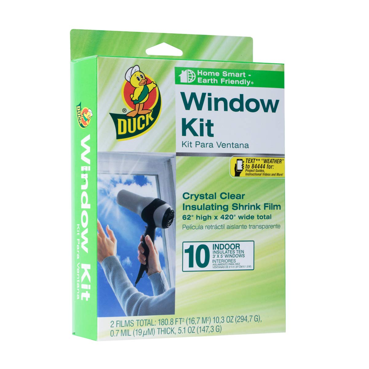 Duck Brand Indoor 10-Window Shrink Film Insulator Kit, 62-Inch x 420-Inch, 286216 by Duck