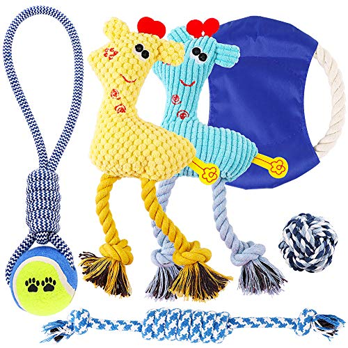 Petbobi Dog Toys Set 6 Pack Dog Squeaky Toys Teething Toys Best Puppy Chew Toys Plush Dog Chew Toys Set Rope with Balls for Small Medium Dogs (Blue)