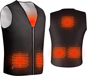 ISOPHO Heated Vest, Heated Jacket Powered by USB Port, Lightweight Fleece Vest, 5 Heating Pads at Abdomen Back & Waist, 3-Gear Temp, V-Neck, Two Pockets, Zipper Closure, Powerbank is not Included