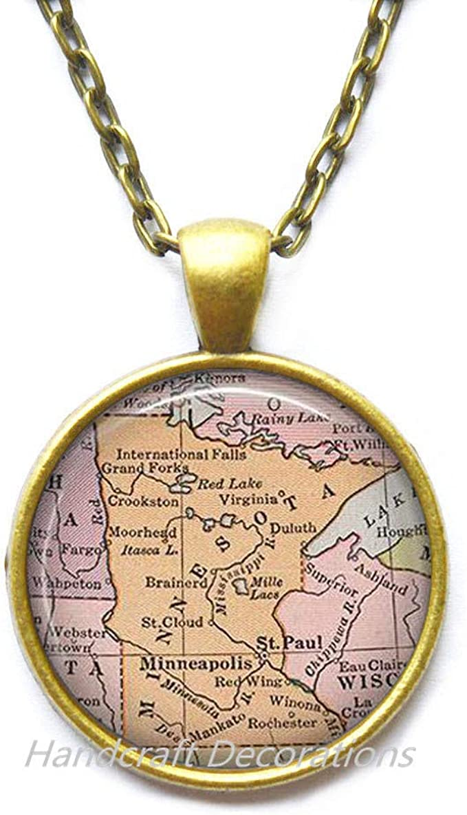 USA chain USA charm,minnesota state necklace SC9 minnesota state initial charm necklace