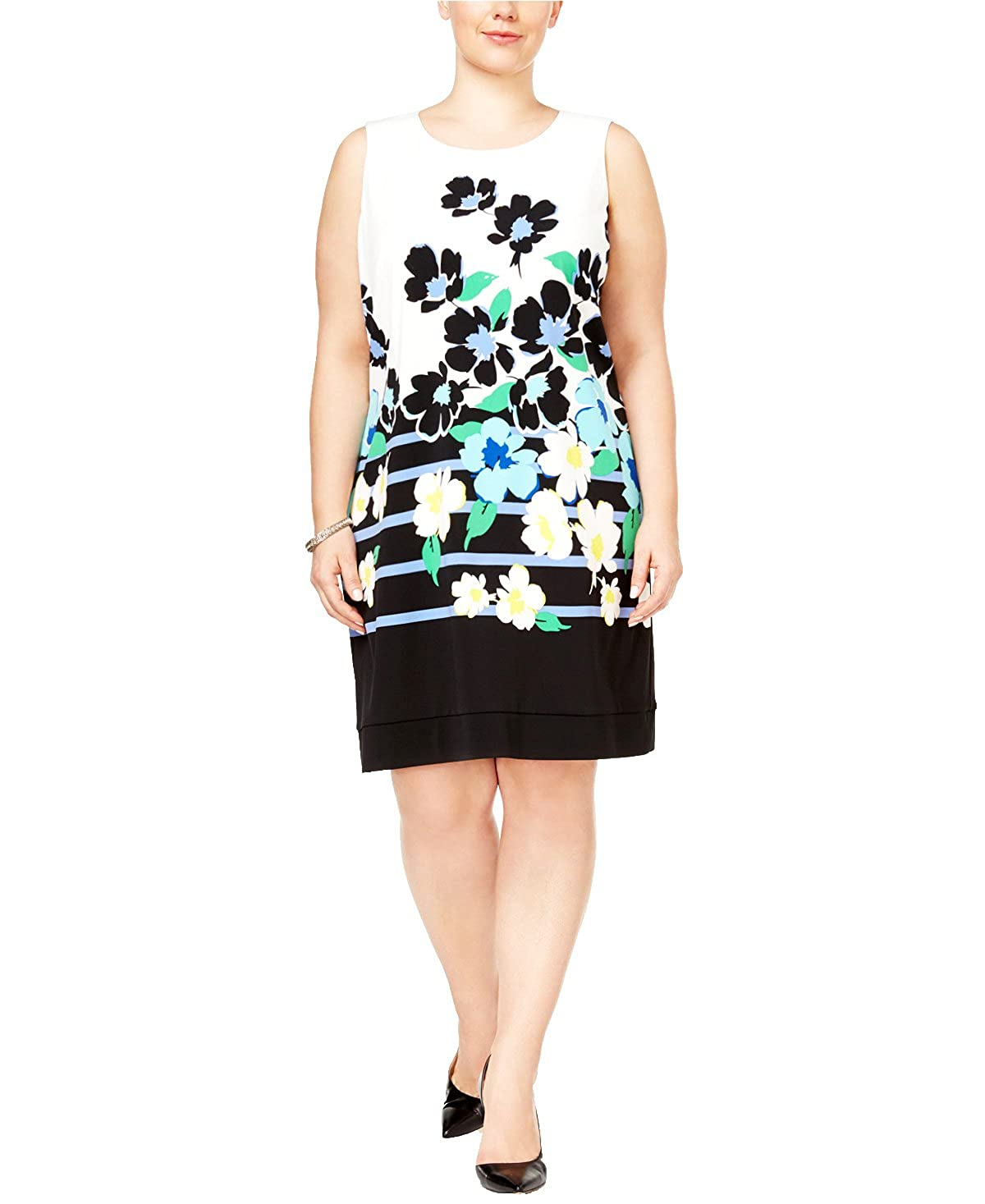 5c3ca641c3b41 Jessica Howard Plus Size Floral-Print Shift Dress And Shrug at Amazon  Women s Clothing store