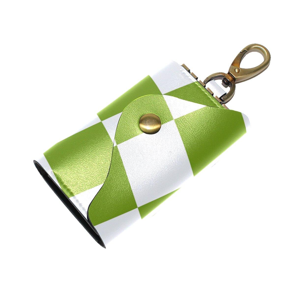 DEYYA White Green Squares Checkered Leather Key Case Wallets Unisex Keychain Key Holder with 6 Hooks Snap Closure