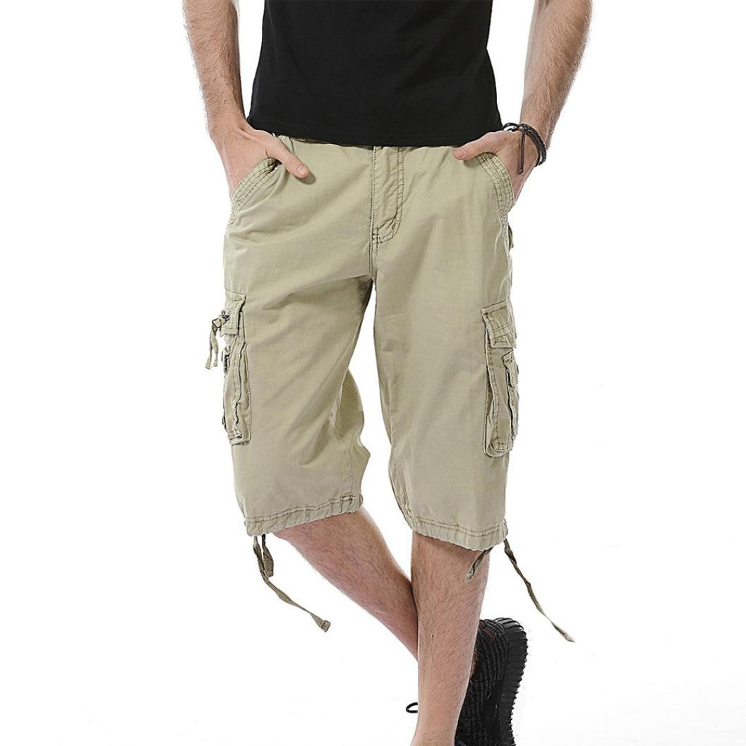 Inverlee-Mens Casual Pure Color Outdoors Pocket Beach Work Trouser Cargo Shorts Pant