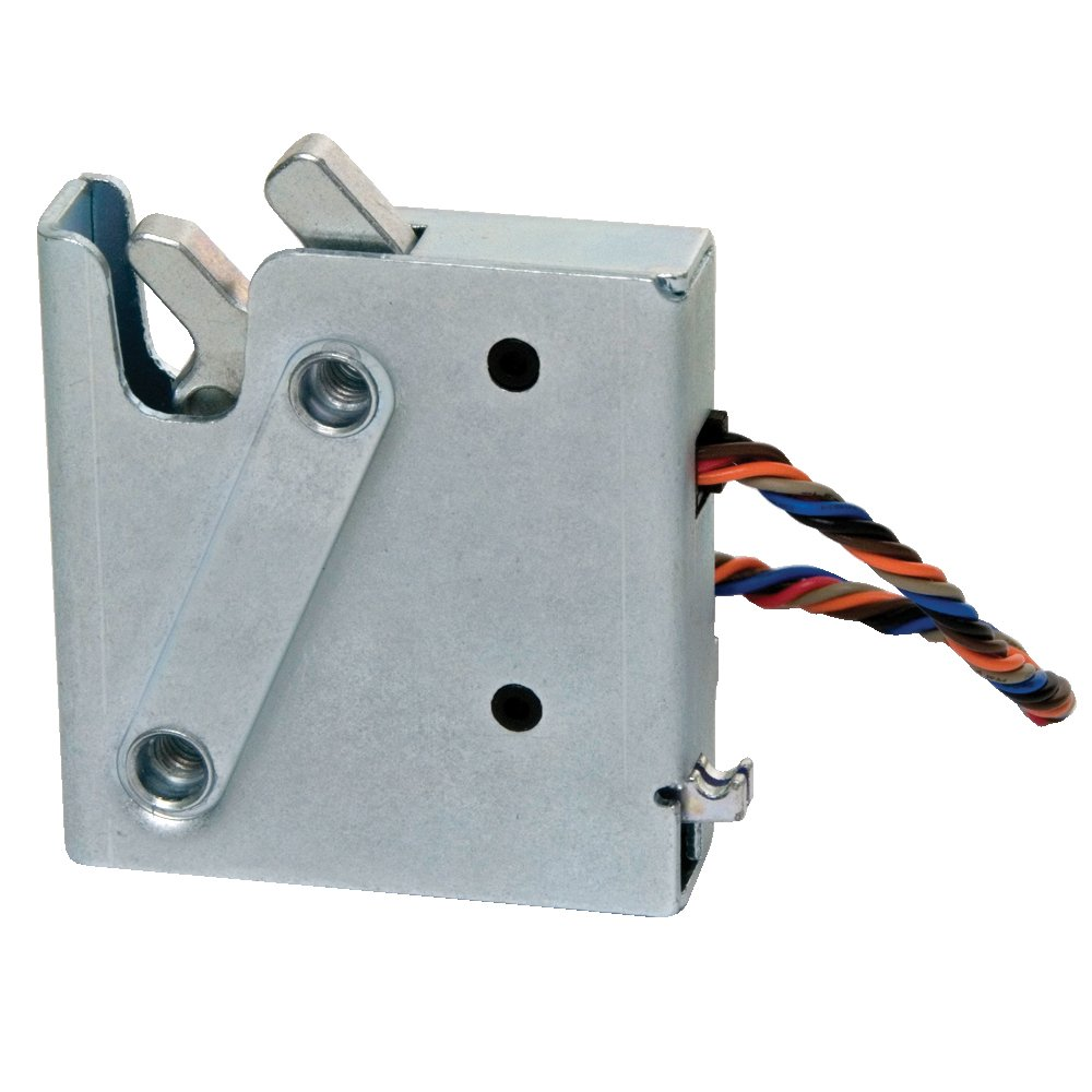 Southco R4-EM Series Nickel Plated Steel Outdoor Electronic Rotary Latch with Single Switch and Striker Bolt, Delayed Relock Side Trigger, 12-24V DC