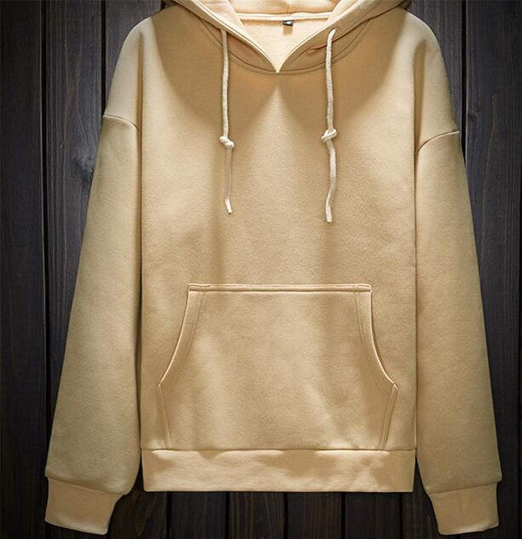 Lutratocro Mens Loose Pockets Solid Color Pullover Hooded Sweatshirts Jacket