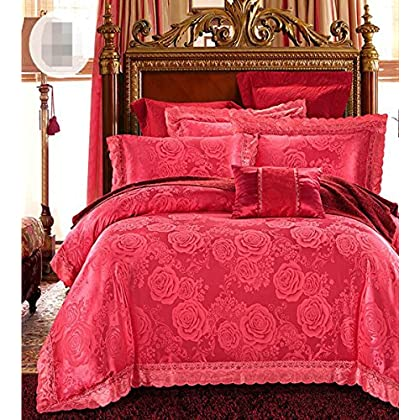 Image of Home and Kitchen HUROohj Satin Jacquard,The New Bedding Four Sets,European Style,Bedding Kits( 4 Pcs) for Bed Size Twin/Queen/King,-King