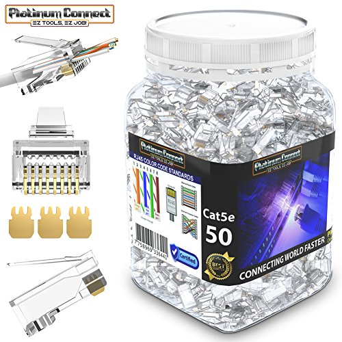 RJ45 CAT5 CAT5e Passthrough Connectors (50 PCS),Gold Plated 3 Micron 3u, High Performance 3 Prong Pins (CAT5/5e/50 PCS) (Packaging may vary)