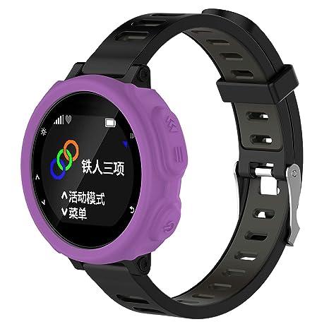 Gusspower Funda Protectora de Silicona Suave para Reloj Deportivo Garmin Forerunner 235 GPS Watch (Púrpura