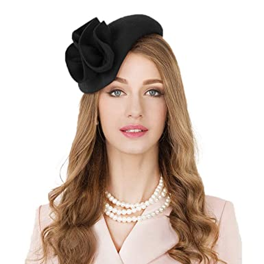 8755d97e74407 Vintage Wool Fascinator Cocktail Hat for Women Formal Pillbox Hat Derby  Wedding Dress Party Hats (Black) at Amazon Women s Clothing store