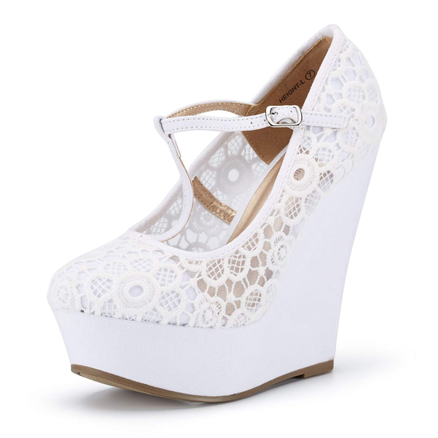 DREAM PAIRS Women's Wedge-Height-l White Lace Crochet Mary-Jane T-Strap Wedge Platform Pumps Shoes Size 6 B(M) US