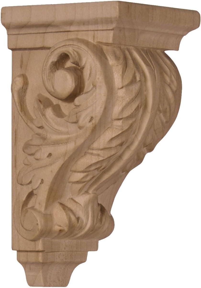 Ekena Millwork CORW02X02X04ACAL 2 1/4-Inch W x 2 1/4-Inch D x 4 1/4-Inch H Extra Small Acanthus Wood Corbel, Alder