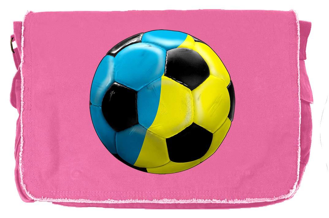 Tenacitee Ukraine Ball Flamingo Raw Edge Canvas Messenger Bag