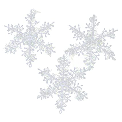 Imported 30pcs Christmas Decorations Supplies White Snowflakes Hanging Ornaments 11cm