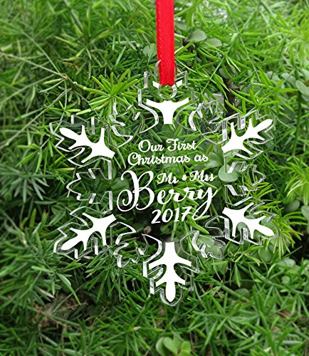 Personalized Snow Christmas Tree Ornament Clear Laser Engraved Hanging With Gift Box - Our First Christmas as Mr & Mrs Custom Gift