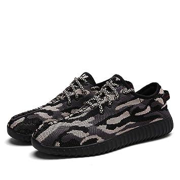Mens / Boys Camouflage Mesh Sneaker Sommer und Herbst Lässige Sportschuhe Breathable und Lightweight , black , 42