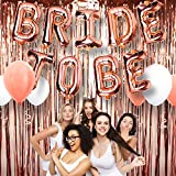 """A3 DIRECT Bachelorette Party Decorations Supplies Set - 16"""" Rose Gold Bride to Be Balloons Decor, Foil Fringe Curtain & 6 Piece Latex Balloons for Bridal Showers, Engagement Parties and Weddings"""