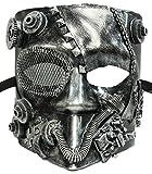 Forum Novelties Unisex-Adults Steampunk Jester Mask, Silver, Standard