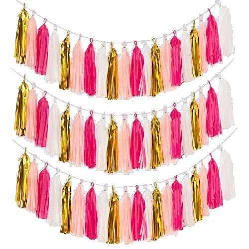 Craft Paper Tassels, MerryNine 40 Pcs 2 Strings DIY Tassel Garland Banner for Wedding, Baby Shower, Event & Party Supplies (Tassels - Rose Pink White Gold Set)