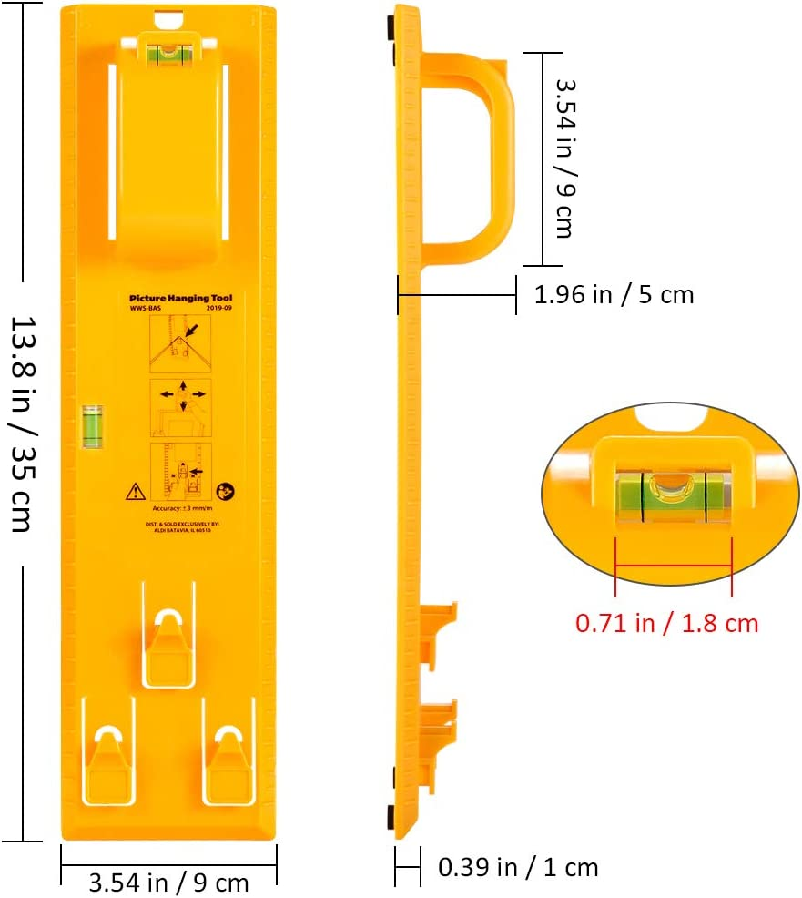 Clocks Wall Coverings and All Types of Suspension Hardware . Mirrors Yellow Portable Picture Hanger Levels Marking Tool and Mini Acrylic Keychain Block Level Vial for Photo Frames Artwork