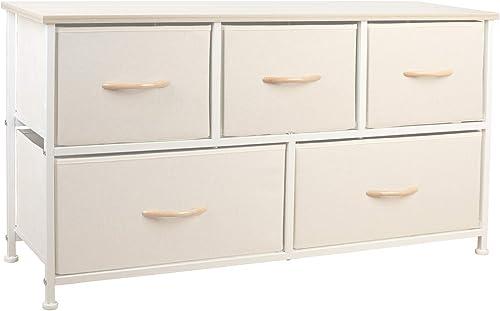 Cheap eclife Home Dresser Dresser Organizer 5 Drawers Storage Organizer Cabinet Creamy White Vertical Dresser Storage Tower bedroom dresser for sale