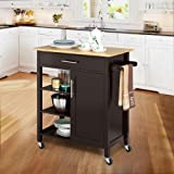 Yaheetech Rolling Kitchen Island Cart with Bamboo
