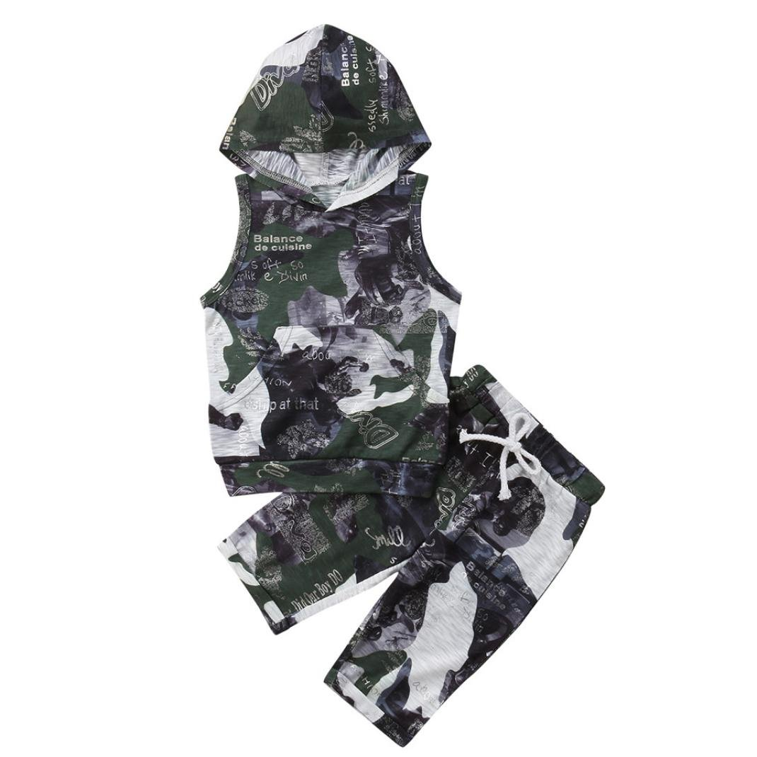 Vincent&July Baby Boys Girls Hoodie Camouflage Tops+Shorts Clothes Set
