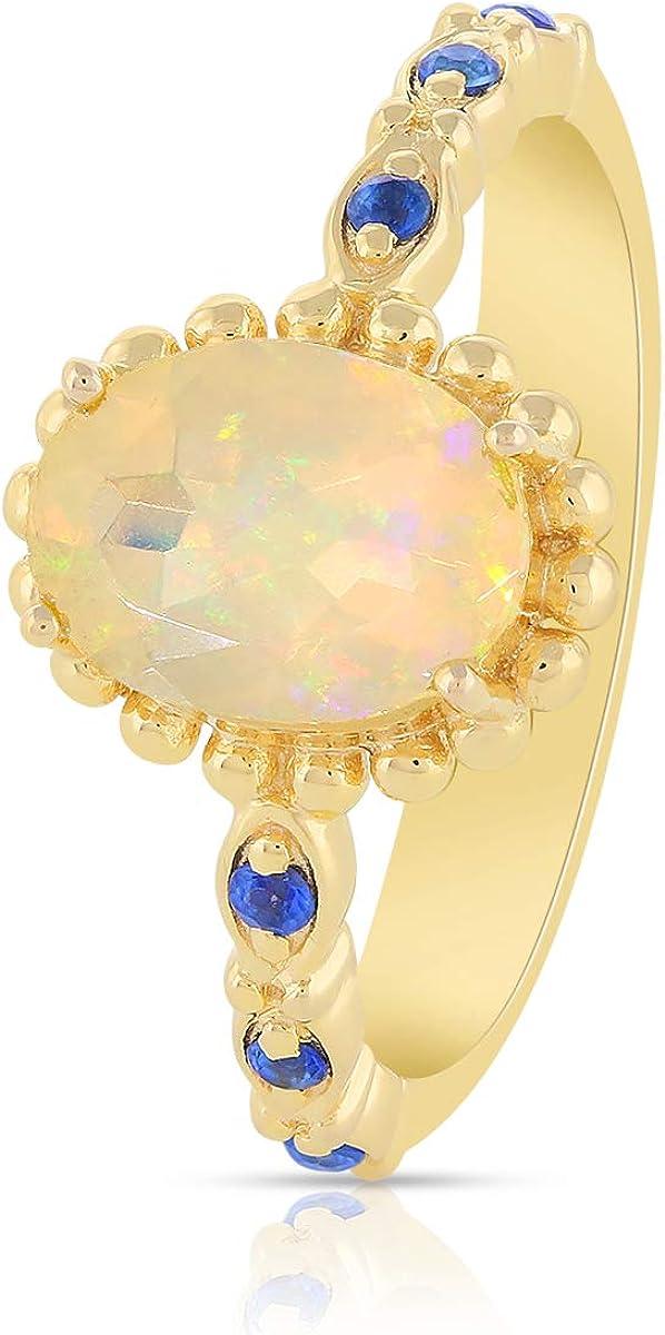 Gemshiner - Anillo de mujer con ópalo etíope amarillo y zafiro azul con piedras preciosas, anillo de plata de ley 925 chapado en oro amarillo, cumpleaños, regalos de compromiso para niñas