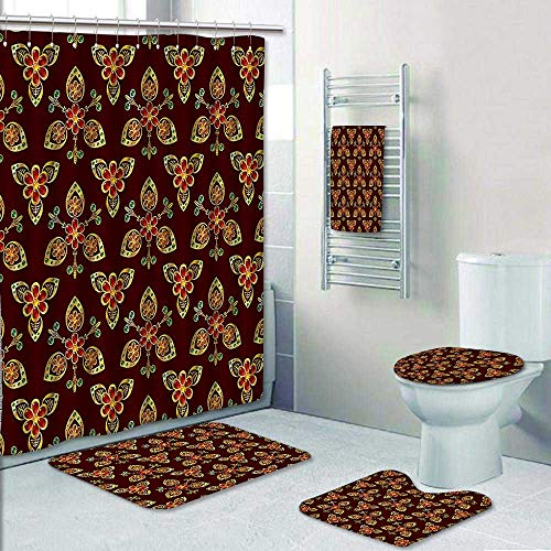 Designer Bath Polyester 5-Piece Bathroom Set, Floral Arabesque Islamic Pattern in Vibrant Colors Artsy Image Gold Chestnut Brown Shower Curtain/Toilet seat/Bath Towel by AmaPark