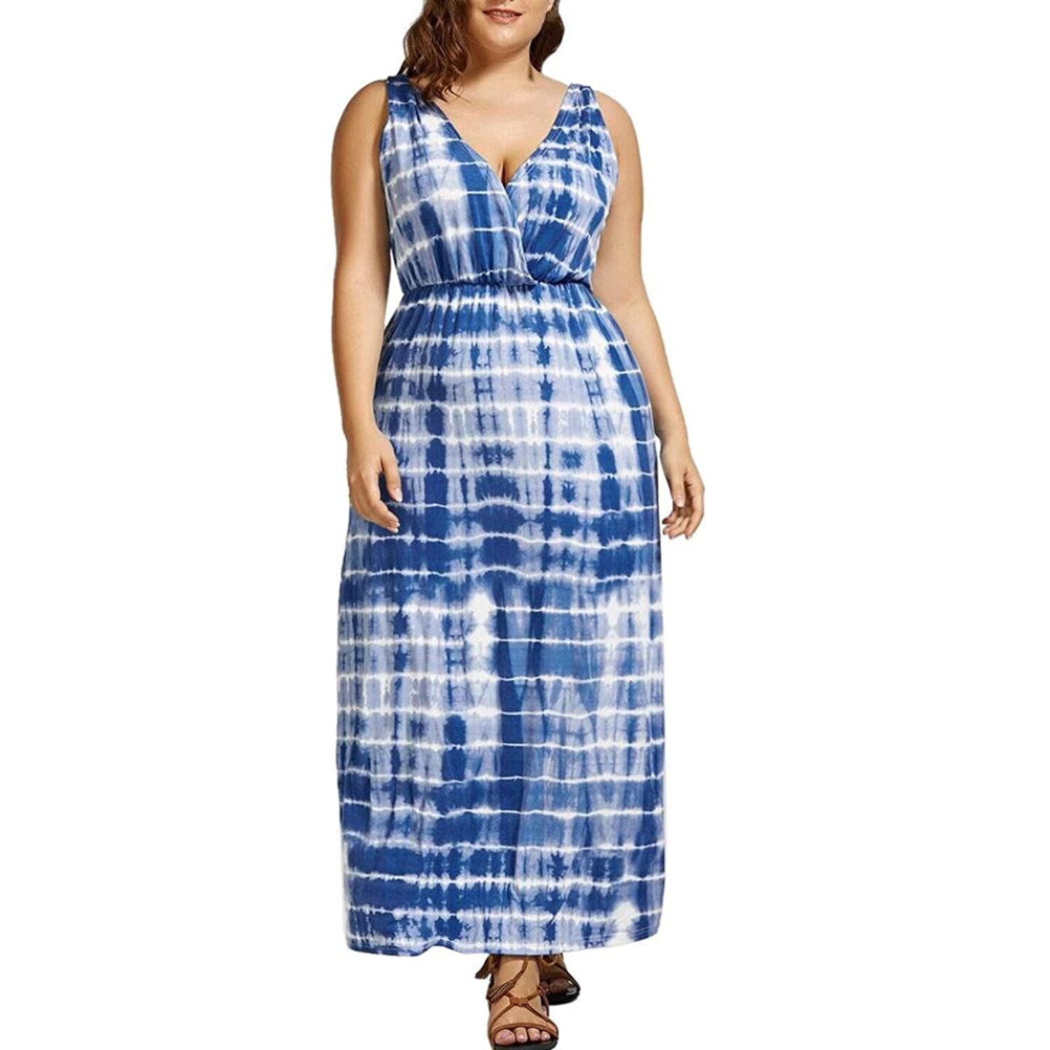 a636b6de1b Minisoya Plus Size Women Casual V-Neck Sundress Summer Loose Tie-Dye Ombre Printed  Backless Party Beach Long Dress at Amazon Women s Clothing store