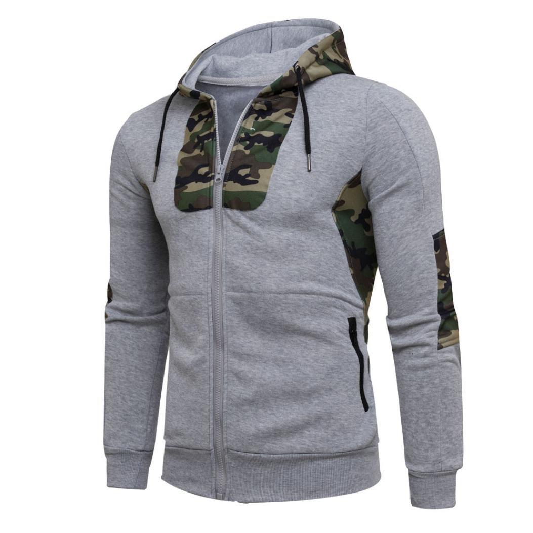HOT !YANG-YI Men Autumn Winter Camouflage Hooded Sweatshirt Coat Jacket (2XL, Gray)