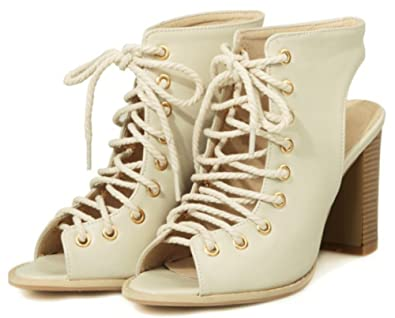 9f423caf4c3 IDIFU Women's Sexy Cross Lace Up High Heel Chunky Gladiator Sandals Cut Out  Boots