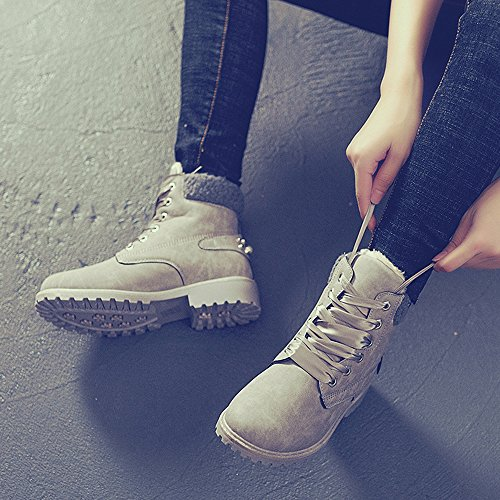 BAINASIQI Womens Martin Boots, Casual Winter Lace up Boots Warm Ladies Outdoor Ankle Boots Worker flat Boot Shoes Grey