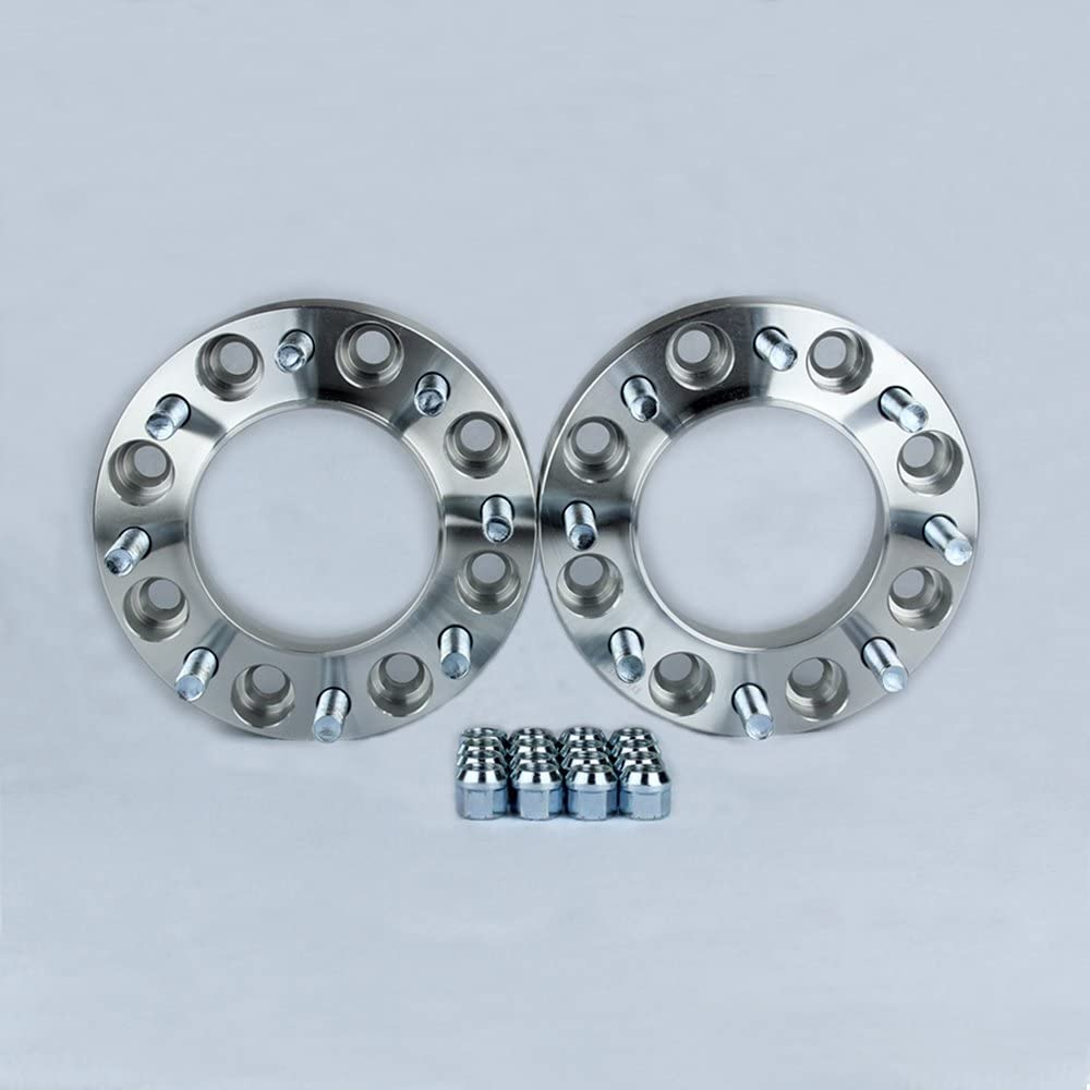 2 Hubcentric Wheel Spacers Adapters fits 8 lug Ford F350 F-350 Dually Trucks 2 inch thick Hubcentric with lip