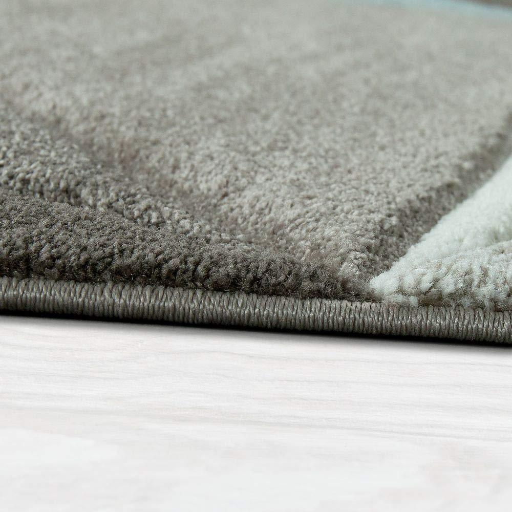 Paco Home Home Home Designer Teppich Moderner Konturenschnitt Trendige Dreiecke Pastell Grau Türkis, Grösse 200x290 cm 6d68c9