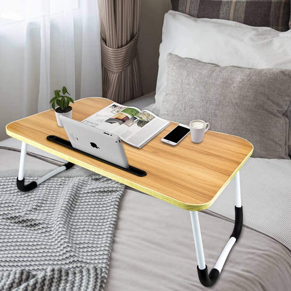 Holiper Bed Desk for Laptop and Writing, Foldable and Portable Small Table Laptop Tray on Bed Floor Sofa