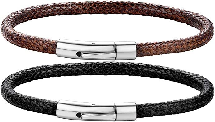 Womens Genuine Leather Bangle Bracelet with Stainless Steel Clasp,Brown