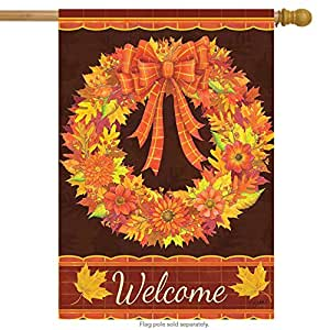 "Fall Wreath Floral House Flag Welcome Autumn Leaves 28"" x 40"" Briarwood Lane"