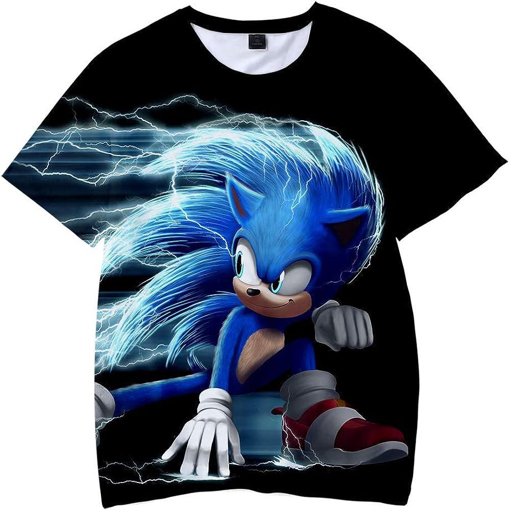 3D-Druck Cartoon Fr/ühling//Sommer kurze /Ärmel Harajuku Casual T-Shirt f/ür Kinder Sonic T-Shirt WAWNI Sonic The Hedgehog T-Shirt f/ür Kinder