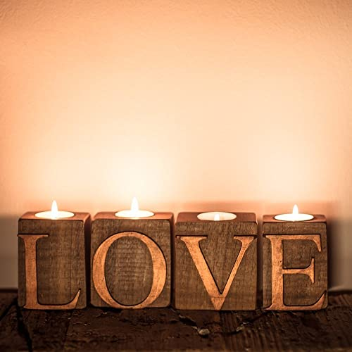 Wooden Letters Love Candlestick Holders Wooden Candle Holders Home Decor Fireplace Candle Holder