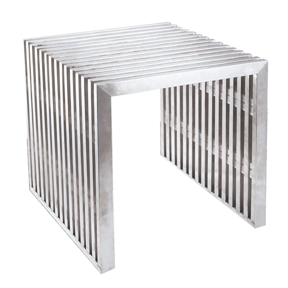 Fine Mod Imports Zeta Stainless Steel Bench Short Silver-Stainless Steel-Contemporary-Modern