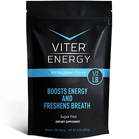 Viter Energy Caffeinated Mints – 40mg Caffeine B-Vitamins Per Powerful Sugar Free Mint. Boost Energy, Focus Fresh Breath. 2 Pieces Replace 1 Coffee Wintergreen, 1 2 LB Bulk Mints Only