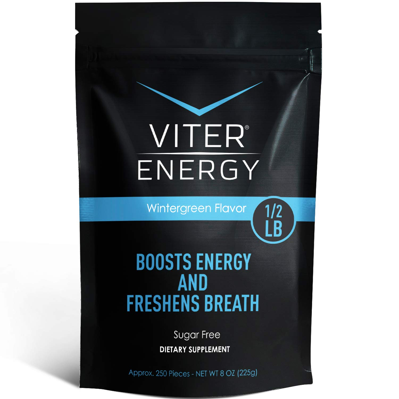 Viter Energy Caffeinated Mints - 40mg Caffeine & B-Vitamins Per Powerful Sugar Free Mint. Boost Energy, Focus & Fresh Breath. 2 Pieces Replace 1 Coffee (Wintergreen, 1/2 LB BULK (Mints Only))