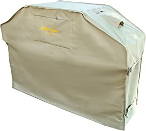 "Felicite Home Up to 64"" Wide, Water Resistant, Air Vents, Padded Handles, Elastic Hem Cord - Heavy Duty Burner Gas BBQ Grill Cover,Khaki"