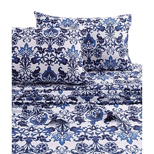 Classic Floral Sheet Set - HNU 3 Pieces Floral Sheet Set Twin XL, Extra Deep Pocket Printed Classic Contemporary Patterned Transitional Percale Cotton Exotic Blue White Bedding Smooth Vibrant Oversized