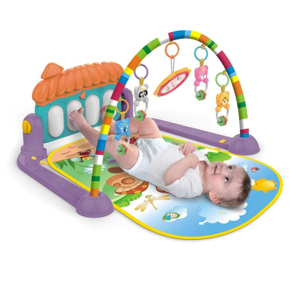 Large Baby Play Mat,Fitness Bodybuilding Rack Pedal Piano Music Play Mat Blanket Activity Gym Toy Kick Piano Light and Sound for Baby Girl and Boy, 0-36 Month