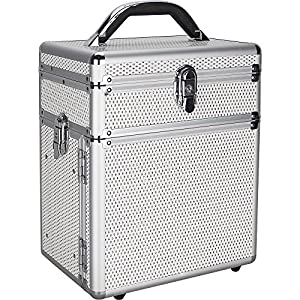 Sunrise Rezzonico Makeup Case Professional Jewelry Travel Organizer Box with 3 Tiers Accordion Trays, White Krystal, 6 Pound