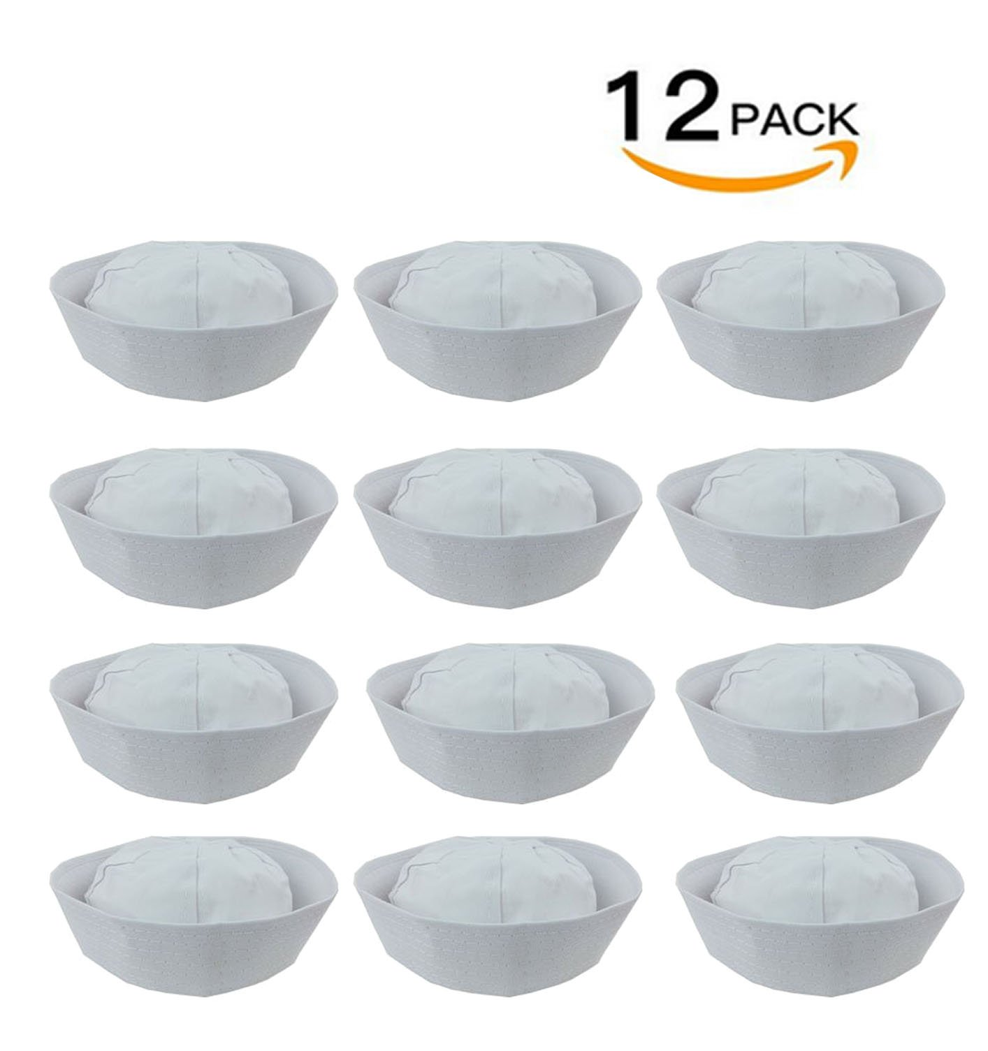 12 White Sailor Hats - hats fits kids and average adults, Dress Up Party Hats, By 4E's Novelty,