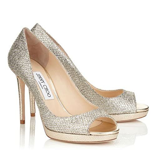 a3ef76d0eeac0 Jimmy Choo LUNA 100 Champagne Glitter Fabric Peep Toe Platform Pumps:  Amazon.ca: Shoes & Handbags