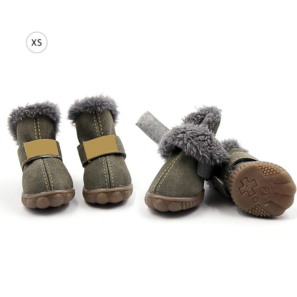 Jannyshop Antideslizantes Impermeables Zapatos para Perro Otoño e Invierno PU Suede Fleece Zapatos para Mascotas Janny-shop