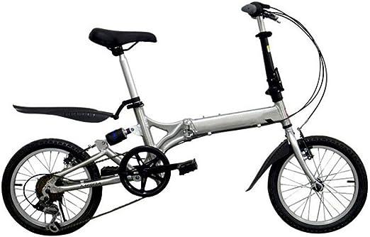 GHGJU Bicicleta Plegable de Aluminio de 16 Pulgadas, 20 Pulgadas, 20 Pulgadas, Amortiguador de Cambios, Bicicleta de un Solo automóvil Adecuado para Carreteras de montaña, Lluvia y Nieve: Amazon.es: Deportes y aire libre